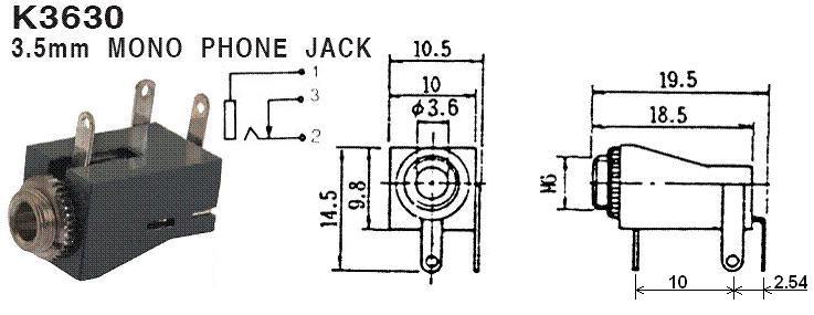 Hobbytronics. Audio Socket - Panel Mount - 3.5mm - Mono