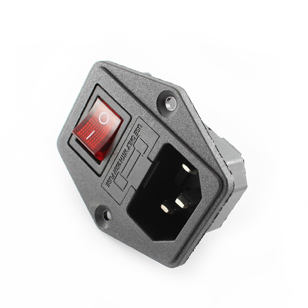 Hobbytronics  Panel Mount Iec Connector With Switch And Fuse Holder